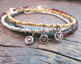 Silver Heart Bracelet, Heart Charm Bracelet, Valentine Bracelet, Heart Jewelry, Heart Bead Bracelet, Valentine Gift, Valentine Day