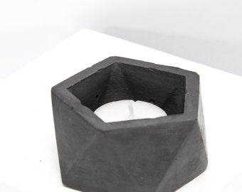 Stackable Concrete Geometric Tea Light Candle Holder and Catch All Vessel Dark