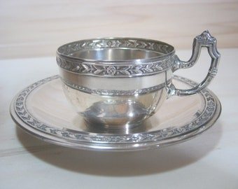 solid silver antique turkish coffee cup and saucer