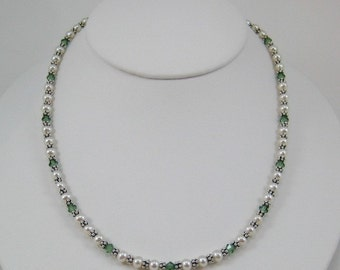 Erinite Swarovski Crystal and Pearl Necklace (N118a)