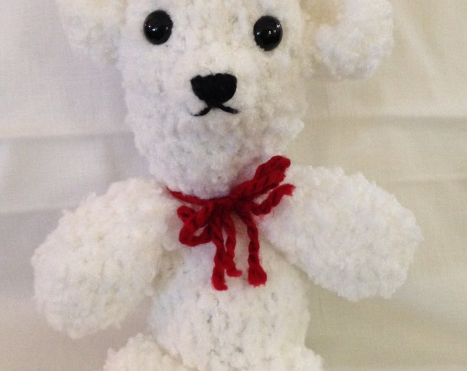 Crochet polar bear white red bear Childs toy stuffed polar bear small white bear handmade crocheted bear white red crochet stuffed toy bear