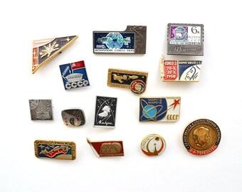 Space enamel pins, metal badges, Vintage Soviet memorabilia 1960s, USSR sputnik spacecraft space exploration lunokhod moon Gagarin cosmonaut