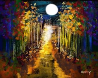 Abstract Autumn During Full Moon
