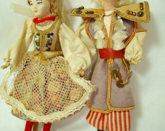 1950's Paper Mache Like Miniature Polish  Man and Women Dolls All Dressed up in their Fineries.