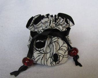 Jewelry Tote - Mini Size - Drawstring Jewelry Pouch - Bag - SPIDER WEB