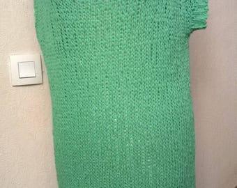 Green cotton knit sweater dress