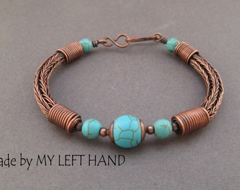 Turquoise Copper bangle Bracelet Viking knit bracelet Turquoise bracelet Antiqued copper bracelet Turquoise jewelry Viking jewelry