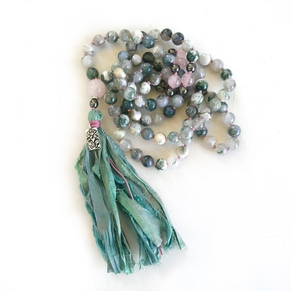 EASE EMOTIONAL STRESS - Mala Beads - Tree Agate And Rose Quartz Mala Necklace - 108 Mala Beads, Yoga Prayer Beads - Lotus Flower Charm