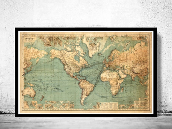 Great vintage world map in 1882 gumiabroncs Choice Image
