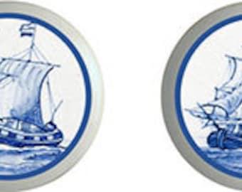 Blue Delft Sailing Ships Ceramic Knobs   Set of 4