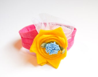Felt Bracelet / Yellow Flower with Blue Rosette / Kids Jewelry Accessories
