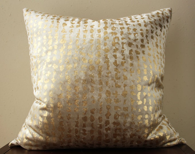champagne velvet pillow with gold metallic foil detail - COVER ONLY