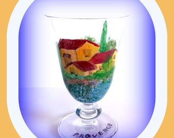 Glass hand painted, decor Provencee (paint set 620, 630 degrees).