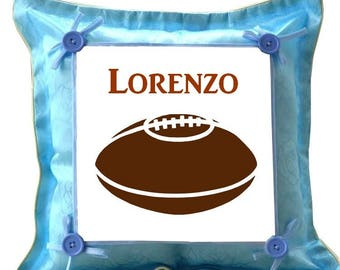 Blue cushion football personalized with name