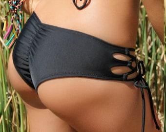 Black Strappy Side Tie Bikini Bottom - Scrunch or No Scrunch Butt Option - New - (Santa Cruz)