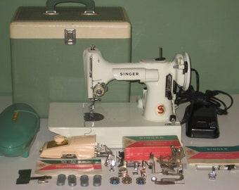 Singer 221K White Featherweight Sewing Machine 1964 + Accessories, Serviced