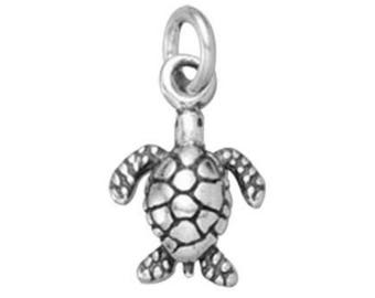 Sterling Silver Sea Turtle Charm, 8.7x13.3mm, 3D charm, 925 Sterling Silver Beach Charm, USA Seller (S145)