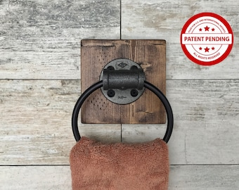 Cast Iron  Pipe Towel Ring, Industrial, Rustic, Bathroom Decor, Kitchen Towel Holder, Farmhouse, Pipe Towel Ring Holder Gift(PATENT PENDING)