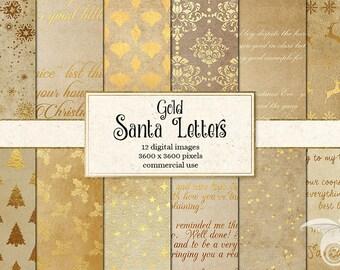Gold Santa Letters Digital Paper, Letters from Santa Printable Scrapbook Paper, Gold Christmas Digital Paper Old Antique Vintage Handwriting
