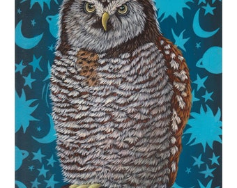 """GICLEE (8 x 10)-""""Creature Of The Night II"""" by Marisa Ray ** Northern Hawk Owl stars and moon wallpaper"""