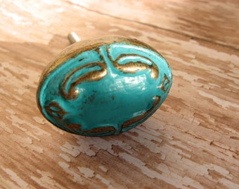2 Antique Brass Knobs Pictured in Turquoise Oval Vintage Style Custom B-12
