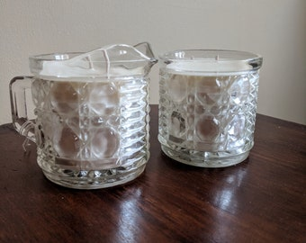 Geometric Glass Candles Sugar and Creamer Set