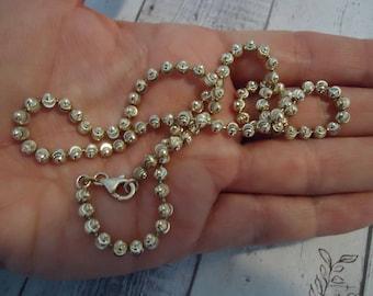 """Vintage 20"""" Laser Cut Fancy Bead Chain, Light Gold Wash Over 925 Sterling Silver, Estate Find"""