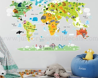 World Map Wall Decal, Kids Map Wall Decal, Map Wall Decal, Map with Animals Wall Decal, Playroom Wall Decal, Nursery Wall Decal, 16-0001
