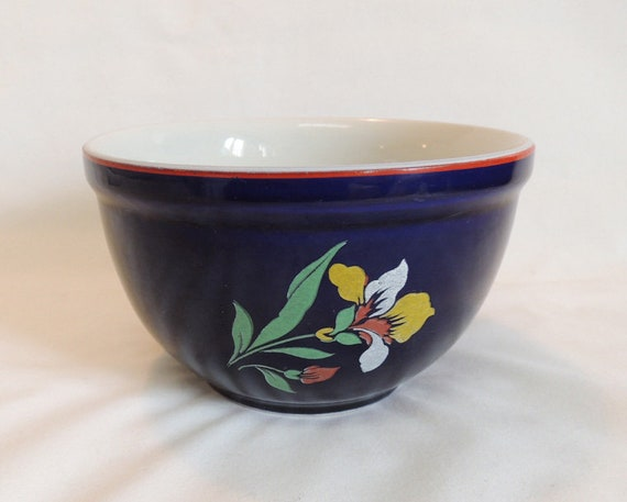 "Vintage HALL CHINA Superior Quality Blue Blossom 6"" Mixing Bowl Cobalt Blue & Floral"