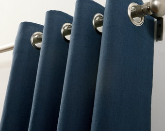 Double width cotton curtain panels (two 100W panels) navy blue, curtain panels, grommets drapes,