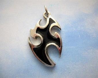 punk Gothic or biker style black enameled silver metal cross pendant