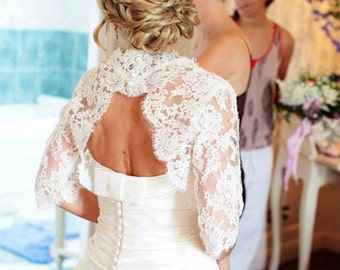 Bridal Lace Bolero Custom Keyhole Back Alencon Lace Bolero with Sleeves
