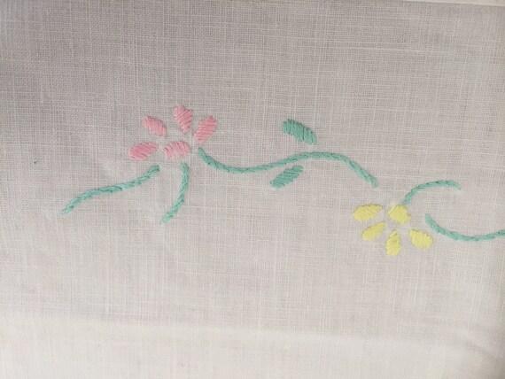 Vintage Scandinavian cradle pram bassinet crib flat sheet / hand embroidered floral detail with lace trim edge