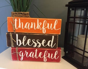 Set of 3 boards: thankful, blessed, grateful