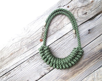 Green statement necklace Nautical rope necklace Rope knot necklace