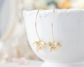Gold Dangle Earrings. Matte Gold Orchid Flower Long Dangle Earrings. Gold Wedding Bridal Earrings, Bridesmaid Earrings, Gift for Her