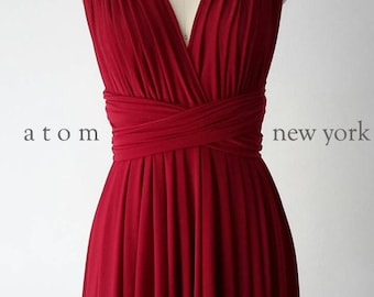Ruby Red SHORT Infinity Dress Convertible Formal Multiway Wrap Bridesmaid Dress Dress Cocktail Evening Dress Party Weddings