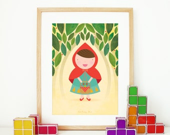Red riding hood Nursery print children story poster illustration kids room wall decor red riding hood print poster graphic illustration