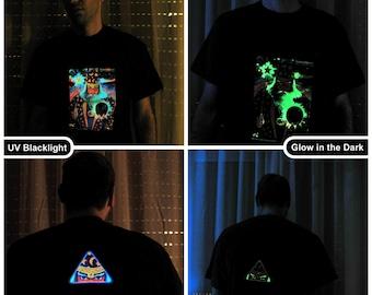 Merlin UV Black Light Fluorescent & Glow In The Dark Phosphorescent Psychedelic Psy Goa Trance Art Club Mens T-shirt