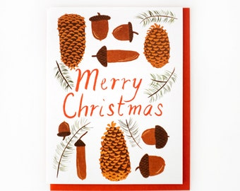 Cones and Acorns // Merry Christmas Card Set of 8