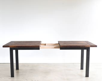 Industrial Extendable Table made from Reclaimed Wood