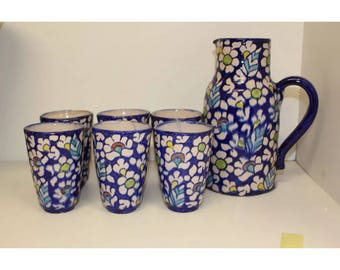 Pakistani Handmade Water Jug And 6 Glass Set Traditional Kitchenware Serving Dining Pitcher