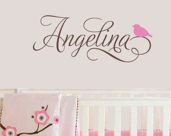 Swirly Name Decal with Bird, Personalized Custom Decal, Childrens Wall decals, Girl Name Decal, Birds Nursery Decor