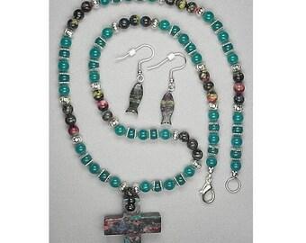548R-Colorful Rainbow Stone Christian Necklace Set