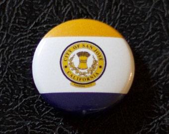 "1"" San José CA flag button - California, city, pin, badge, pinback"