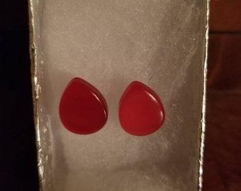 Red teardrop post earrings