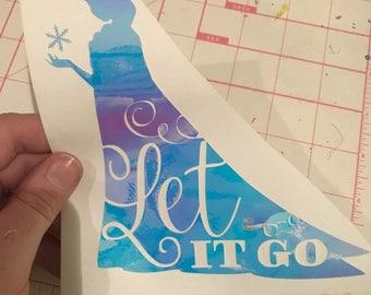 Holographic Elsa Let it Go vinyl decal