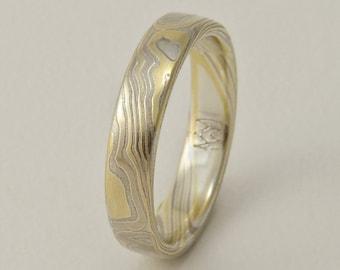 Custom Mokume Gane Ring -  14k palladium white gold, 18k yellow gold and silver in woodgrain pattern