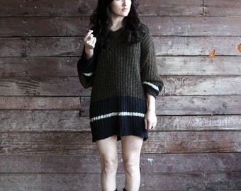 striped sweater dress - 90s grunge oversize boyfriend sweater - unisex - mens rib knit pullover - forest green black - large