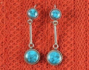 Native American Navajo Drop Earrings Turquoise
